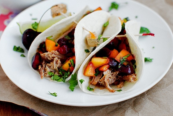 Smoky Pulled Pork Tacos with Cherry-Peach SalsaCherries Peaches, Smoky Pulled, Pulled Pork Tacos, Crock Pots, Cherry Peaches Salsa, Pots Recipe, Slow Cooker, Crock Pot Recipes, Dinner Recipe