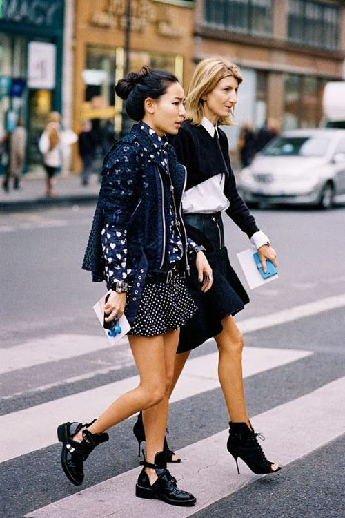 """Say """"yes"""" to an embellished ankle boot with a frilly skirt. Femme & masculine all in one."""