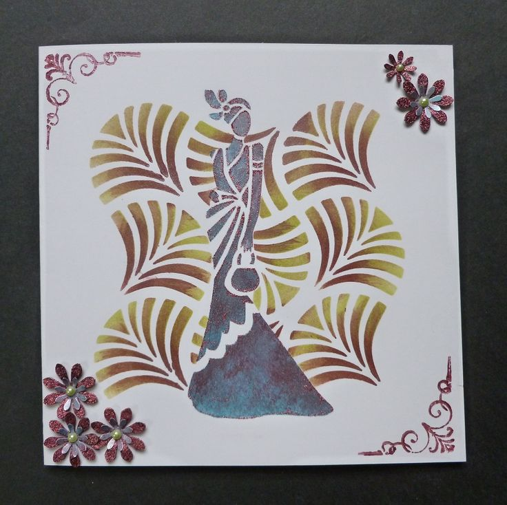 'Art Deco Lady - Lauren' card - Imagination Craft's - Art Deco Lauren stencil.  Wavy squares stencil.  Lilac blue & Bright maroon Starlight paints.  Crushed strawberry Sparkle Medium.  Stencil brush.  Magi-bond glue.  Distress inks - Mowed lawn,Shabby shutters & Peeled paint.  Woodware lge. flower punch.   Carl small flower punch.   Green pearls.   May 2017.   Designed by Jennifer Johnston.