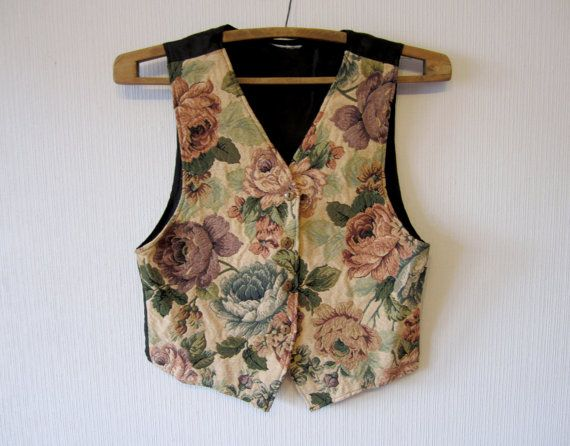 Floral Tapestry Waistcoat Womens Baroque Roses Fitted Colorful Classic Romantic Medium Size Vest
