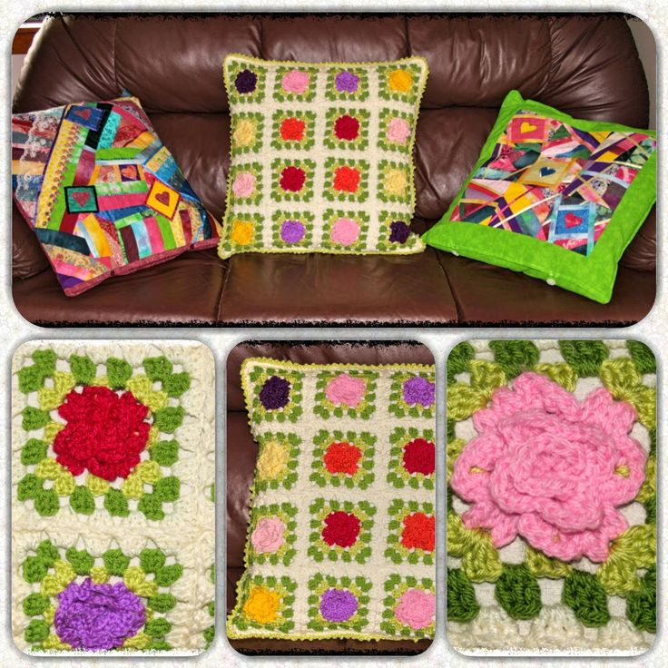 Snazzie Creations: Crochet Roses Granny Squares Cushion Cover