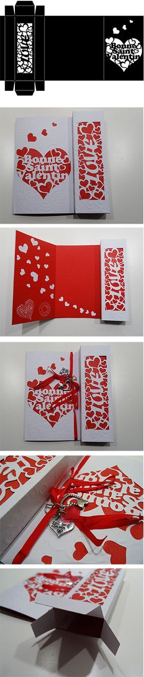 Carte de saint valentin avec la silhouette cameo avec petit compartiment pour petits cadeaux en tout genre.