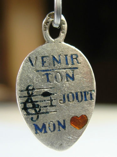 French Rebus/ Music to my Heart/Antique c. 1910 Silver Charm: Heart Charm