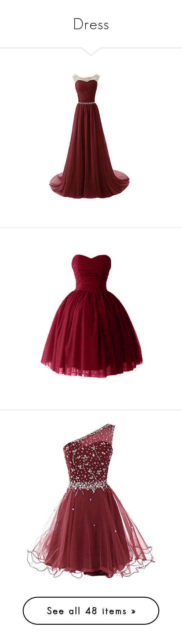 """Dress"" by beingmyselfaf ❤ liked on Polyvore featuring dress, formal, long, short, tops, a line tops, round neck top, red top, dresses and short dresses"