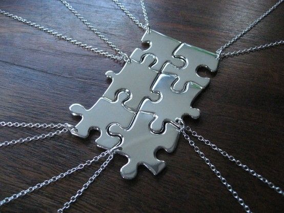 Cute! Use real puzzle pieces covered in mod podge and pretty paper or spray painted chrome. Love this idea for girl birthday. no one getting left out with friendship necklaces!