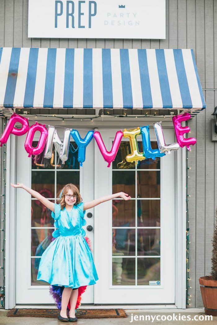 Love the mylar letter balloons! My Little Pony Birthday Party by Jenny Cookies…