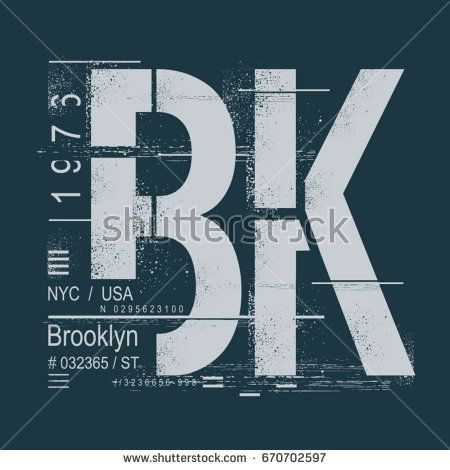 Brooklyn typography, tee shirt graphics, vectors