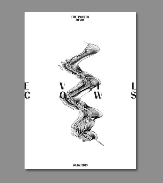 waaterkant.com ~ © Uwe Steffen poster design evil cows minimal black and white experimental