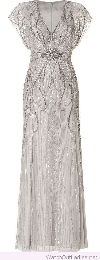 Silver long evening dress 1920's fashion