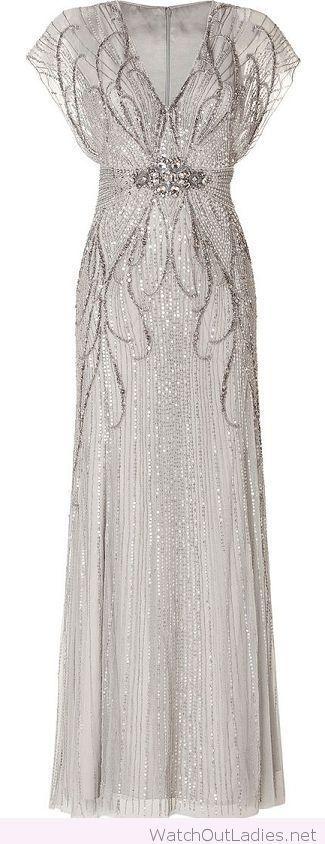 Silver long evening dress 1920's fashion