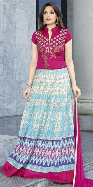 Classy Pink And Blue Cotton Anarkali Suit.