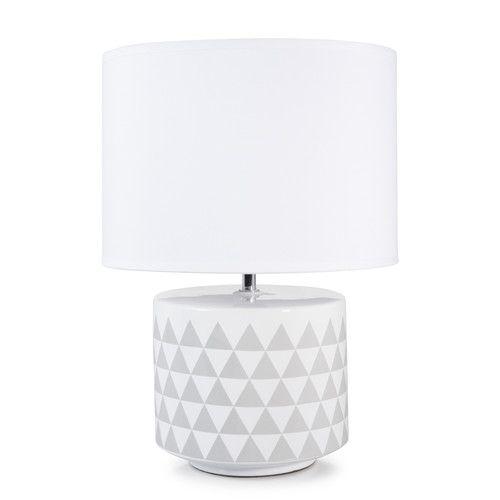 Lampe SCANDINAVE aus Keramik, H 38 cm, grau/weiß