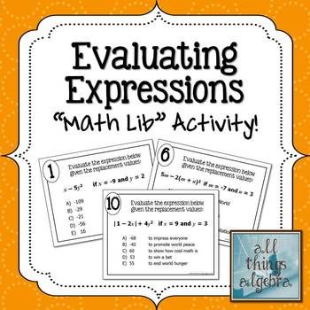 Evaluating Expressions Math Lib Activity
