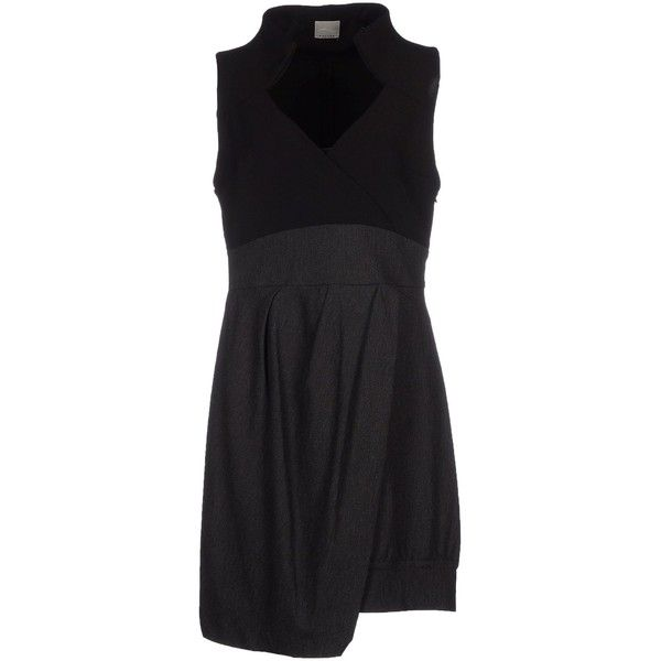 Malloni Short Dress (€250) ❤ liked on Polyvore featuring dresses, black, zip dress, sleeveless v neck dress, vneck dress, black zipper dress and black mini dress