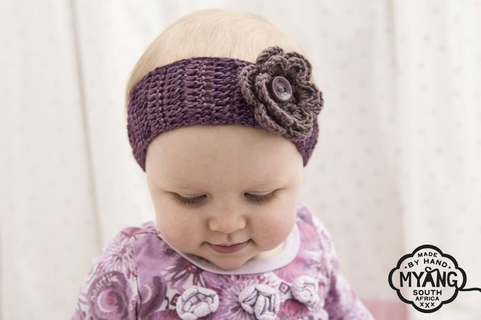 Headband - Purple with Flower. Lovingly crocheted in cosy wool and finished with a crocheted flower. The perfect accessory to any outfit!  www.myang.co.za