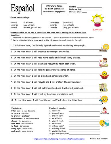 Spanish Future Tense Worksheets - Rringband