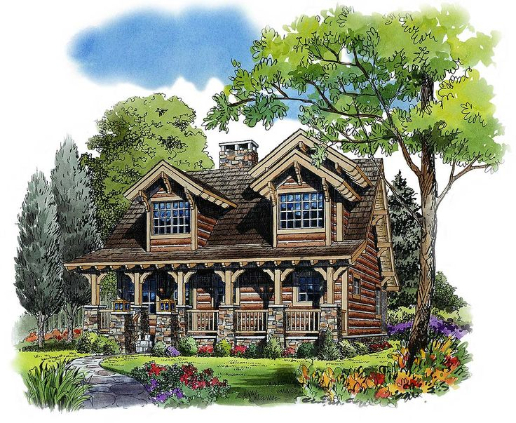 Rustic 4 Bedroom Cottage - 11536KN | 1st Floor Master Suite, CAD Available, Cottage, Country, Log, Mountain, Narrow Lot, PDF, Vacation | Architectural Designs