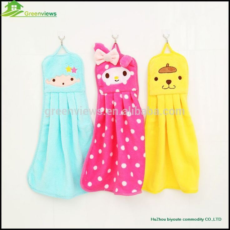 Perfect Cute Flannel Kitchen Towel Wholesale Coral Fleece Polyeater Decorative  Hanging Hand Towel With Loop GVSQ0004