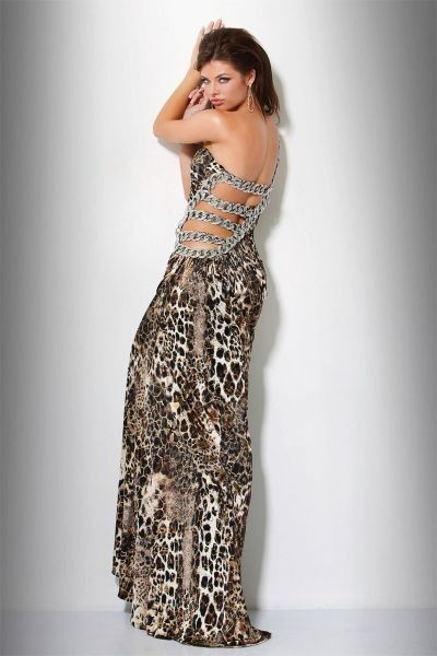 Animal Print One Shoulder Jovani Formal Dress 9416 with Cut-Out Side $468.99 Animal Print Evening Dresses