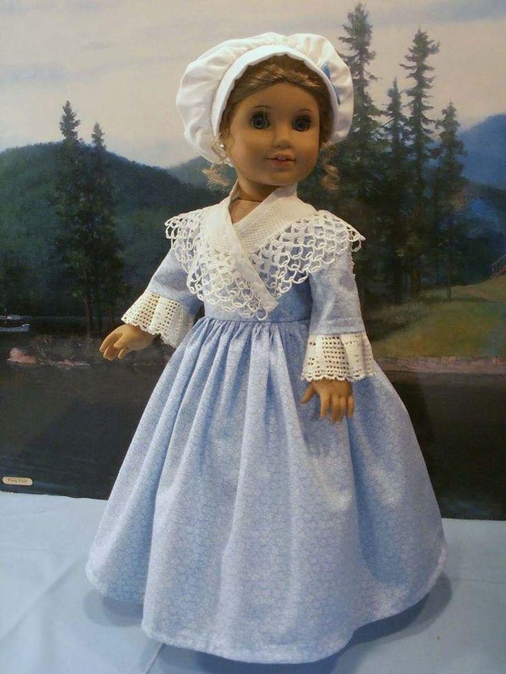 Pastel Blue Work Dress fits American Girl Elizabeth Felicity 18 in. dolls #ClothingShoes