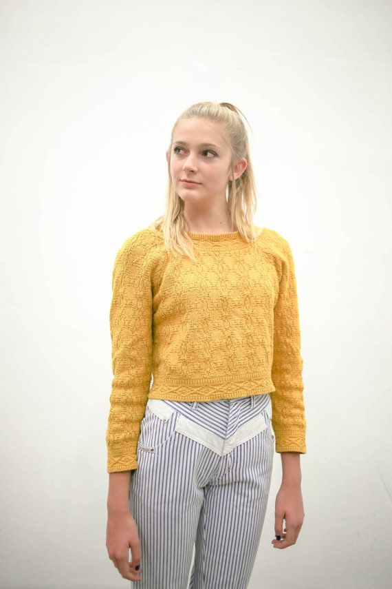70s mustard yellow pullover sweater vintage by BobbyDangFashion ...
