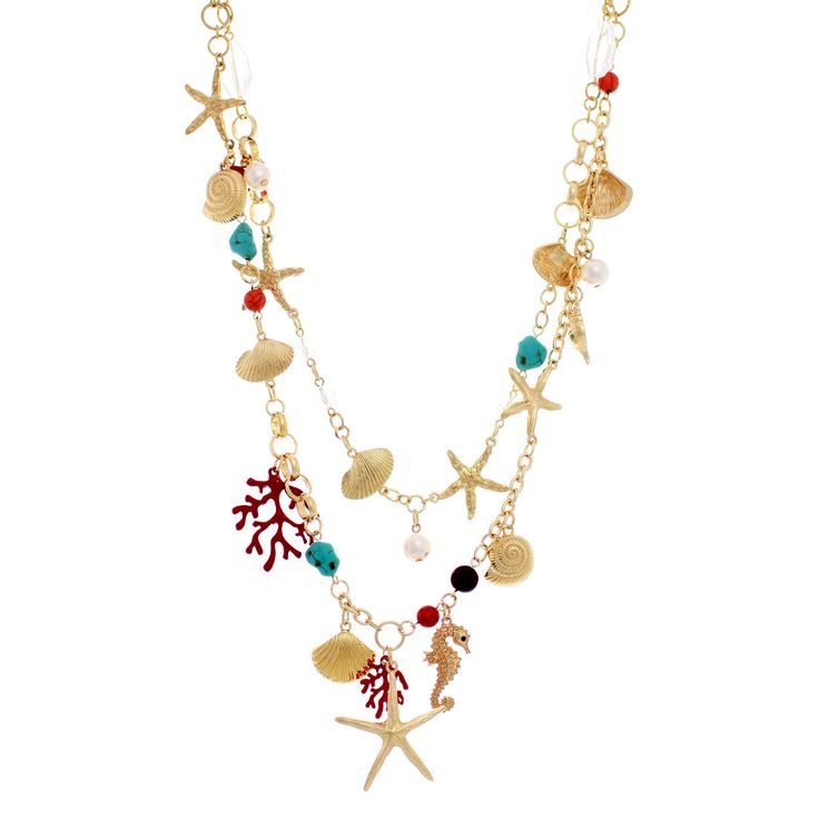 - Gold tone chain necklace with lobster clasp closure - Nautical sea themed double layer necklace - Beautiful detailed dangling charms - Seahorse, starfish, shell charms with turquoise, red and clear