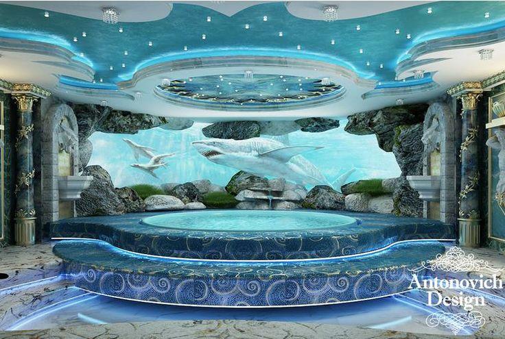 """Комната с джакузи, оформленная в стиле """"рококо"""", украшенная изящным декором, обладающая голубым цветом, поражает своей роскошью."""
