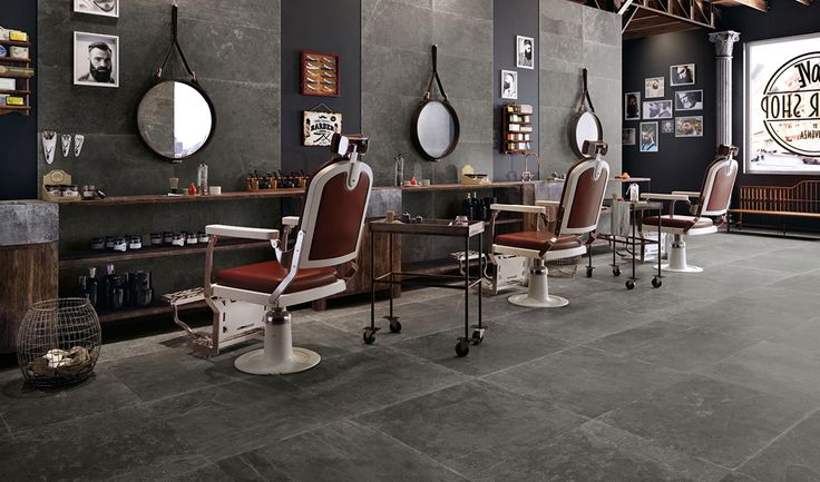 Groove collection by Provenza #tiles #surfaces #barbershop #design #floor #stone #black