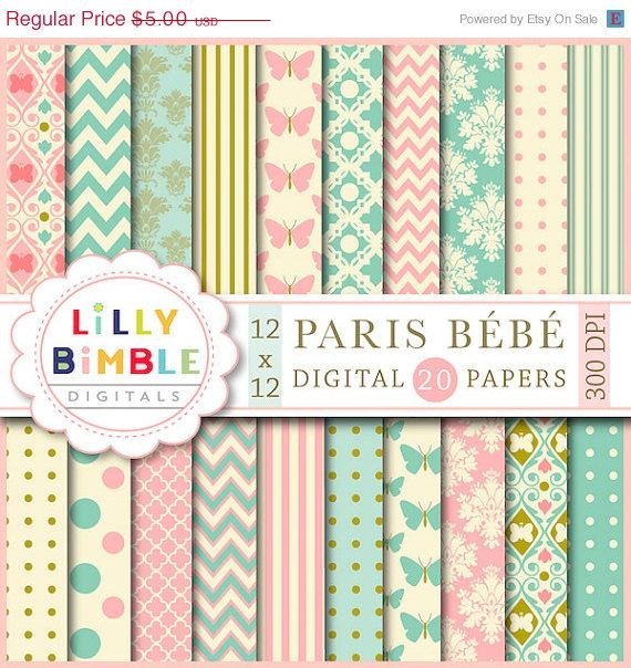 40% off PARIS BEBE digital papers in teal and by LillyBimble