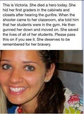 A brave person against a predator with a monopoly on force saves students, but sadly, not herself. I honour her for her heroism. Rest in peace, Victoria. You won't be forgotten soon! But you will be missed for a long time.