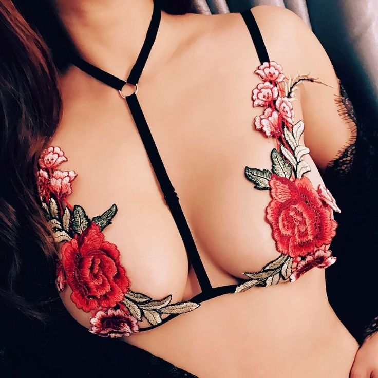 Sexy Lingerie Black Floral Bondage Body Cage Bralette Bralet  Click to buy it