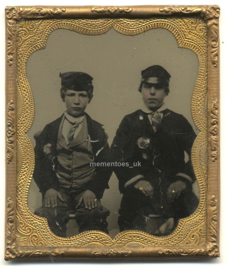 Sixth Plate Ambrotype 2 Boys Photograph c1860 Victorian Fashion