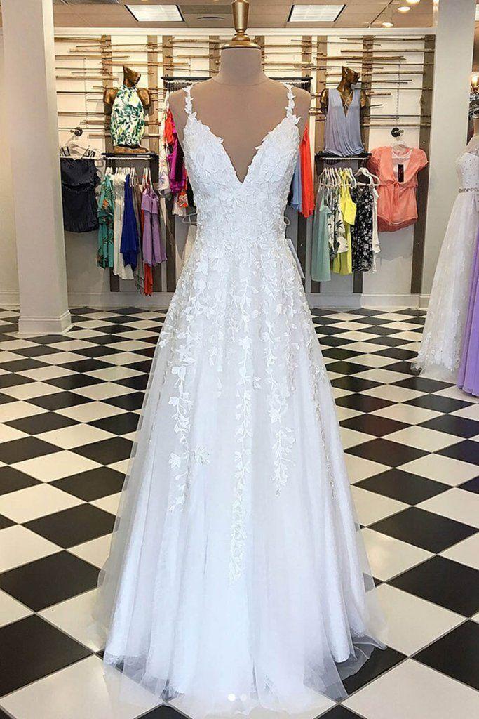 Weißer Tüll V-Ausschnitt lange Spitze Applikationen A-Linie Abendkleid, formelles Kleid