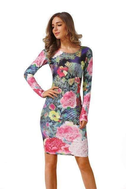 04606987a4e1 Floylyn Long Sleeve Brazilian Print Club Wear Vestidos O-Neck Knee-Length Party  Dress Sheath