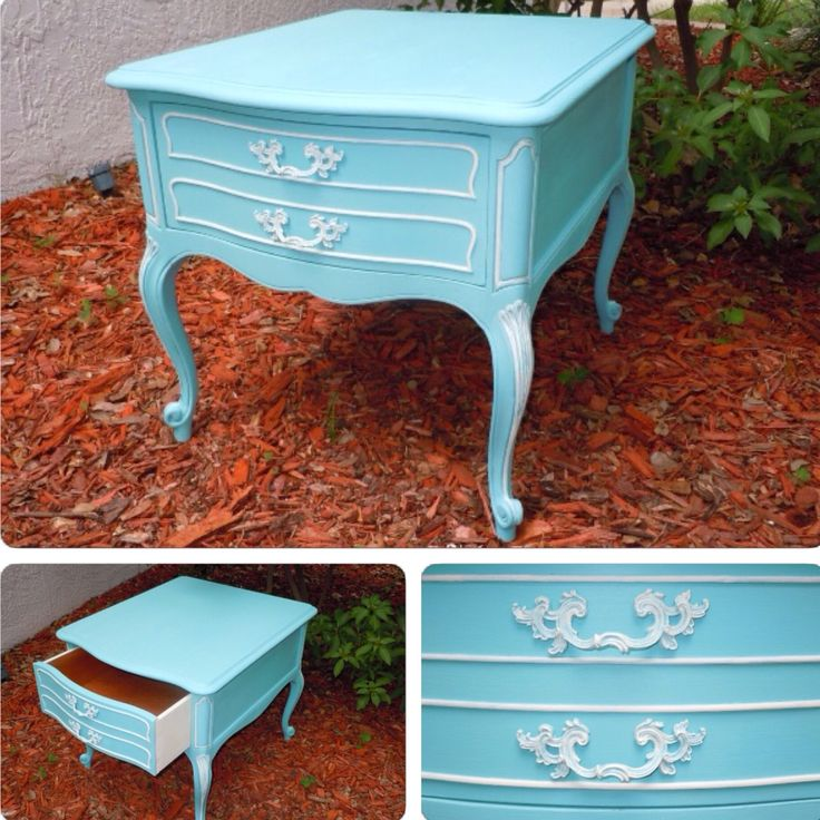 Drexel Touraine nightstand painted Robin's Egg Blue