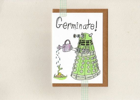 dalek GERMINATE card . dr who . mini print . by ThePaisleyFive