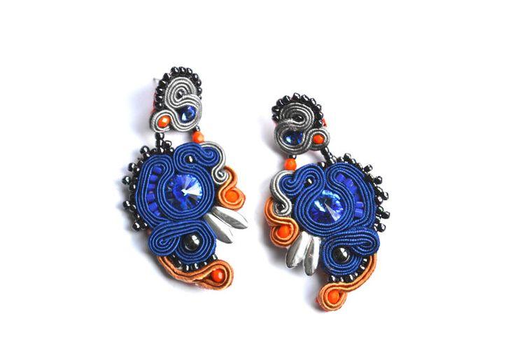 Kolczyki sutasz eleganckie srebrne granatowe w Biżuteria Stylazka na DaWanda.com