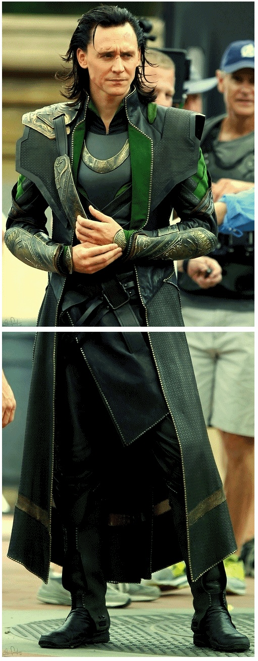 Tom hiddleston on the set of the Avengers in his character Loki costume. One of my favorite actors:)