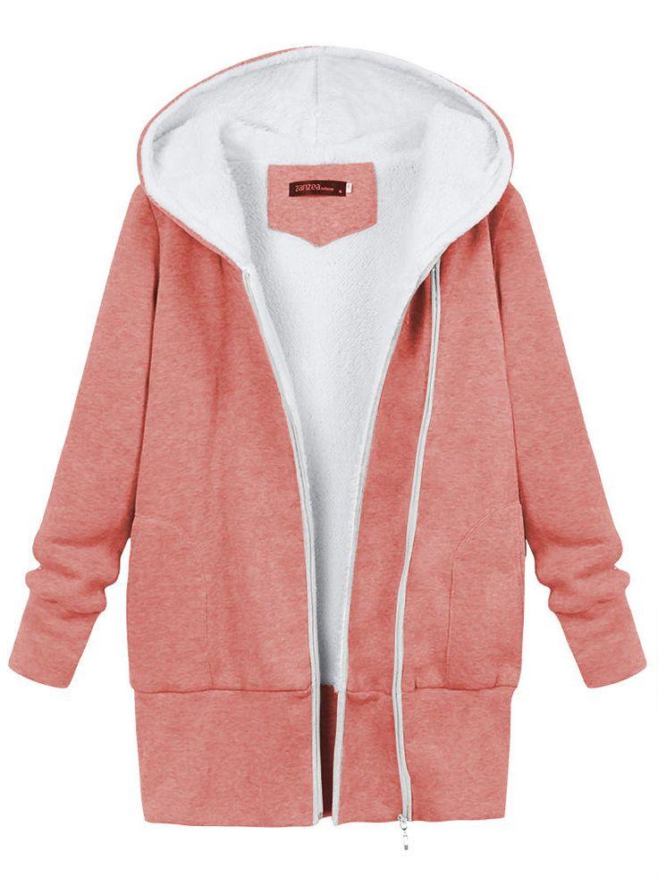 Winter Women Warm Hooded Cotton Jacket Fluffy Outdoor Coats - US$30.29