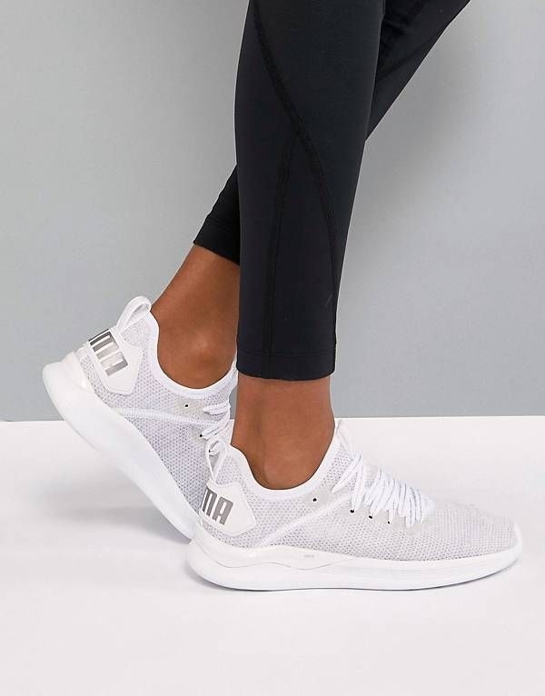 115b384171 Puma Running Ignite Flash EvoKnit Sneakers In White | shoes in 2019 ...