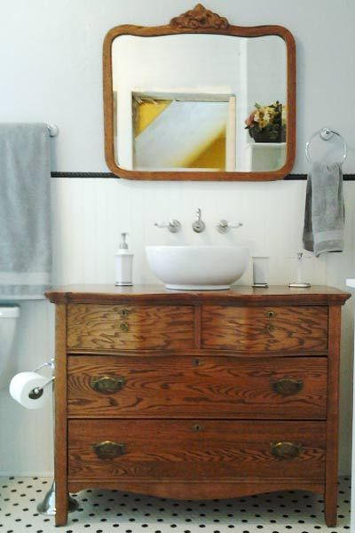 antique dresser converted into bathroom vanity, Nancy S. of Devner, CO, top picks for unusual bath vanities from the search for america's best remodel 2014