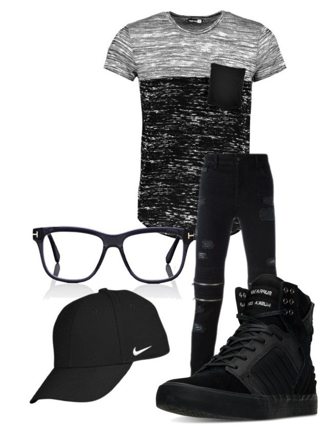 """Untitled #101"" by iballisticredhead on Polyvore featuring Boohoo, County Of Milan, Supra, Tom Ford, NIKE, men's fashion and menswear"