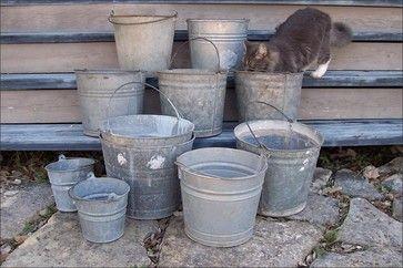 flower arrangements in old galvinite buckets   All Products / Outdoor / Garden Decor / Outdoor Decor