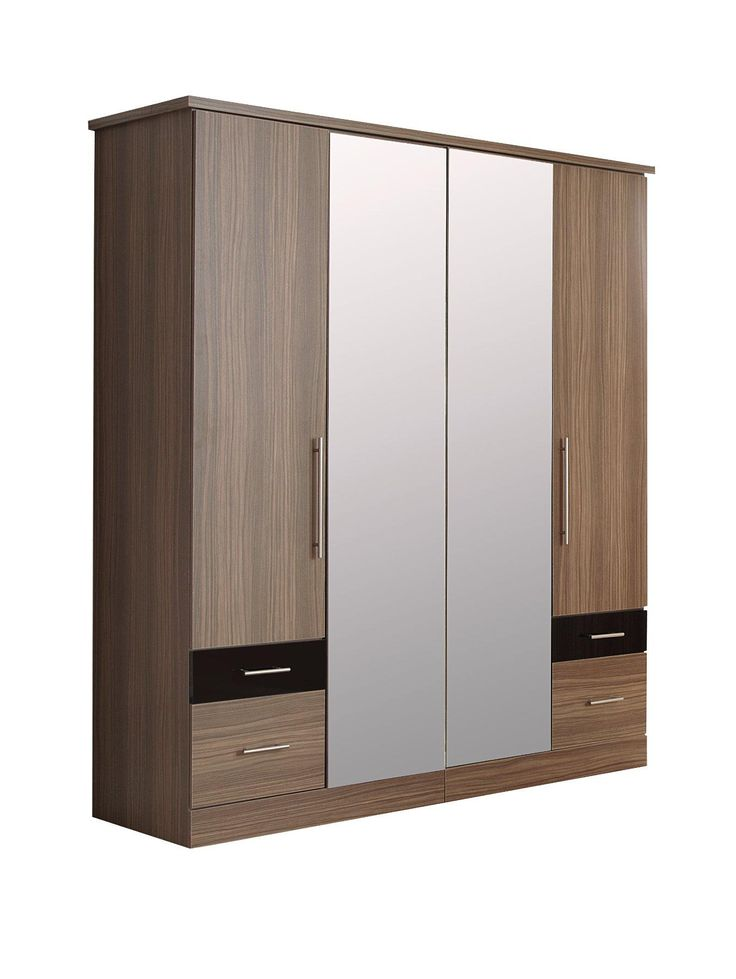 Consort Eclipse 4-door, 4-drawer Wardrobe with Mirror. Spacious and modern, this wardrobe from Consort's Eclipse range of bedroom furniture is as stylish and eye-catching as your favourite outfits.Available in walnut-effect or oak-effect finishes, a drawer on each side of the wardrobe flaunts a contrasting high gloss that captures the light (not to mention the attention).Walnut-effect comes with black gloss drawer fronts; oak-effect comes with white gloss drawer fronts.With a pair of…