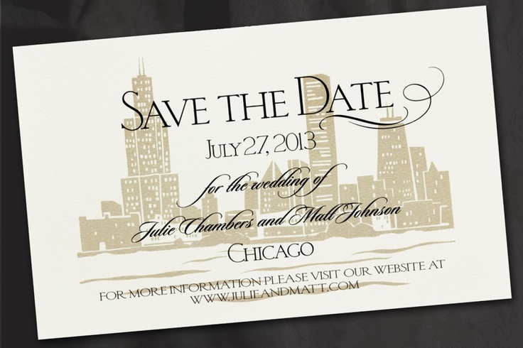 city wedding save the date for a wedding in the city in sophisticated