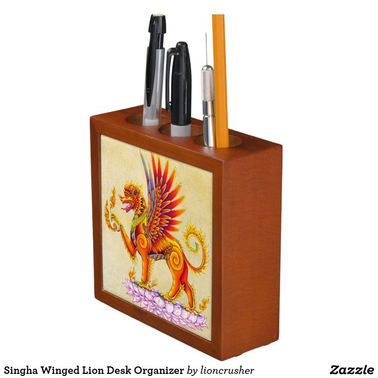 """Singha Winged Lion Desk Organizer by Rebecca Wang on Zazzle.  Keep your desk neat and tidy with a customized desk organizer. Beautiful colorful animal artwork adorns the front and back of this mahogany wood finished desk piece. Great for keeping clutter contained! Dimensions: 5"""" l x 5"""" w x 1.75"""" d Printed front and back on two 4.25"""" white ceramic tiles. Designed with three compartments."""