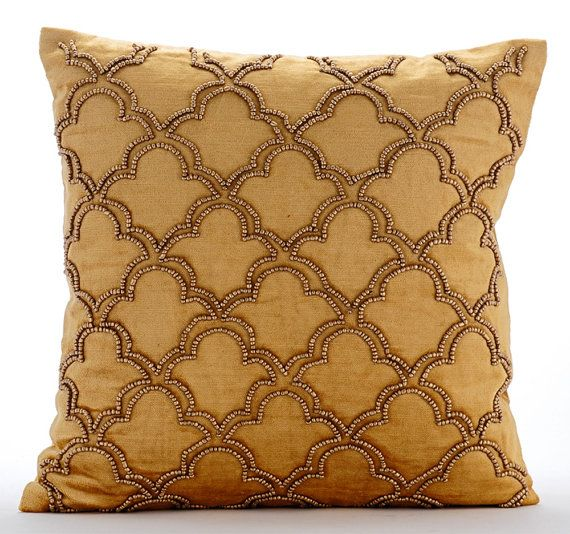 Gold Jewel - Gold Bead Embroidered Gold Velvet Throw Pillow.