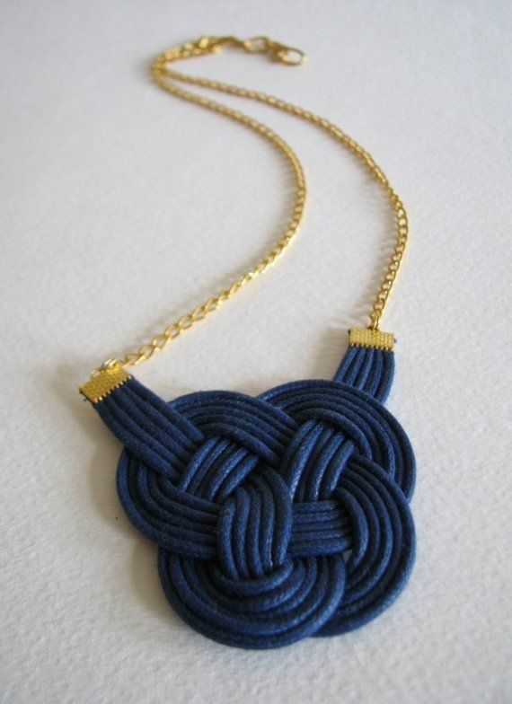 blue leather knotted necklace