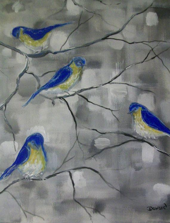 Acrylic Blue Birds Canvas Painting by RaymsartFloralprints on Etsy, $89.00