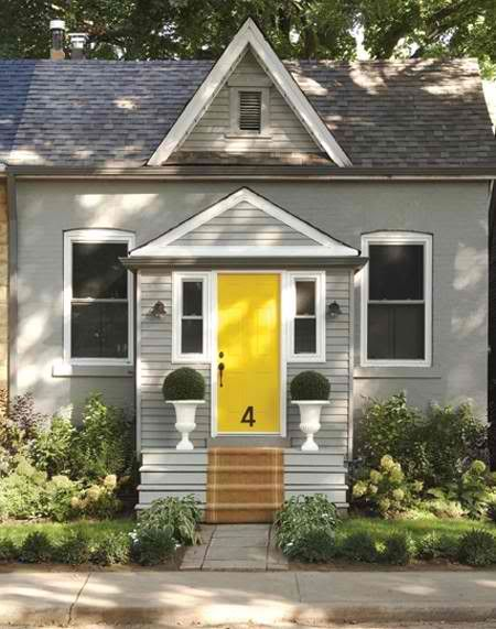Exterior paint gray house w the yellow door my house for Exterior yellow paint